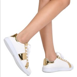 Shoes - White and gold lace up sneakers